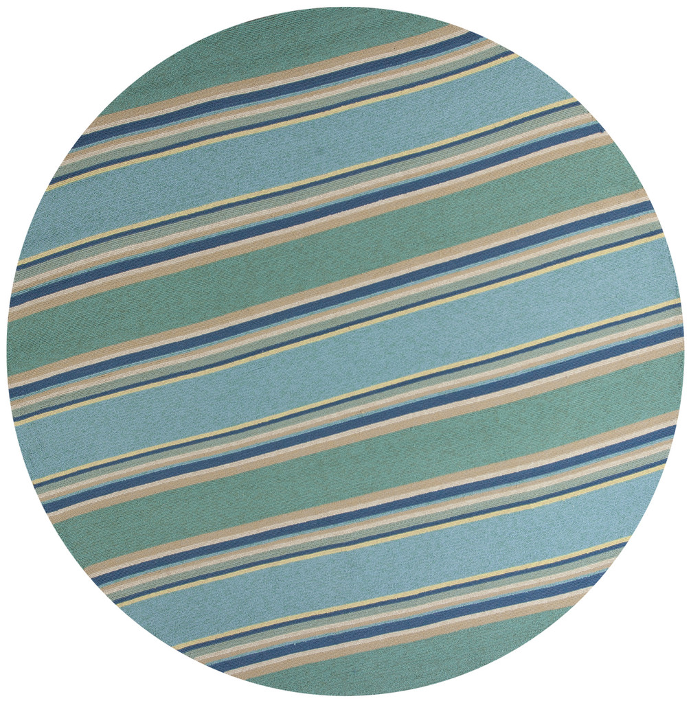 Harbor Turquoise Stripes Area Rug round