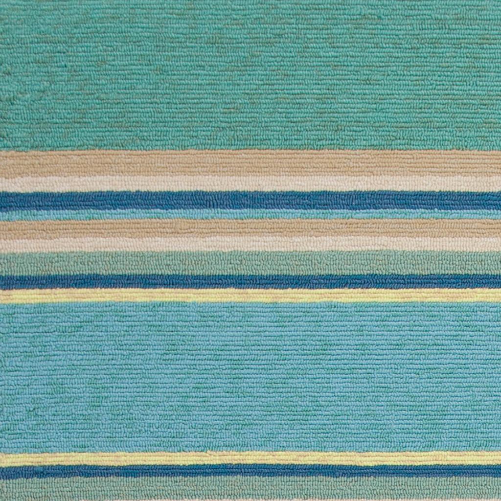 Harbor Turquoise Stripes Area Rug close up 1