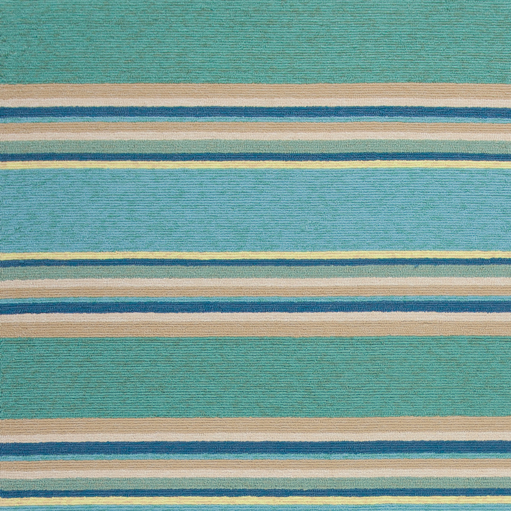 Harbor Turquoise Stripes Area Rug close up 2