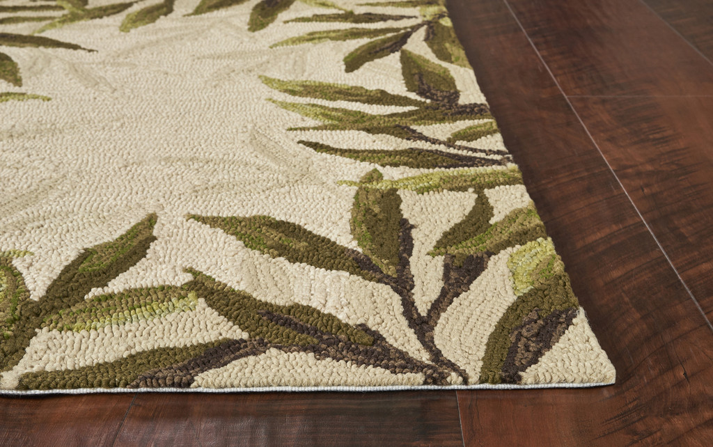 Greenery Palm Bordered Indoor-Outdoor Area Rug corner image