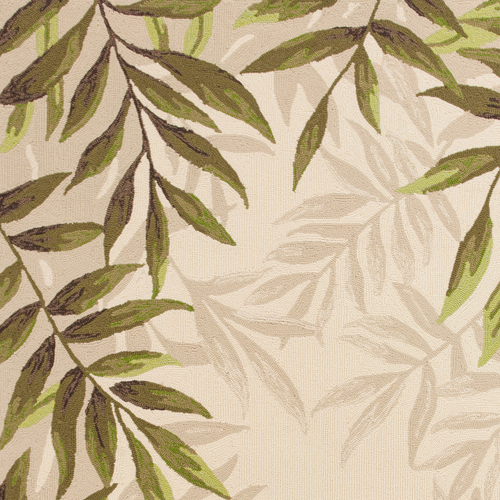 Greenery Palm Bordered Rug close up 1