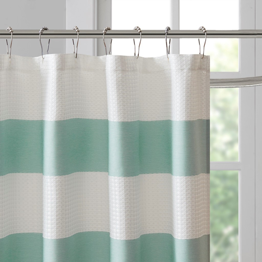Spa Aqua 72 X 72 Striped Shower Curtain