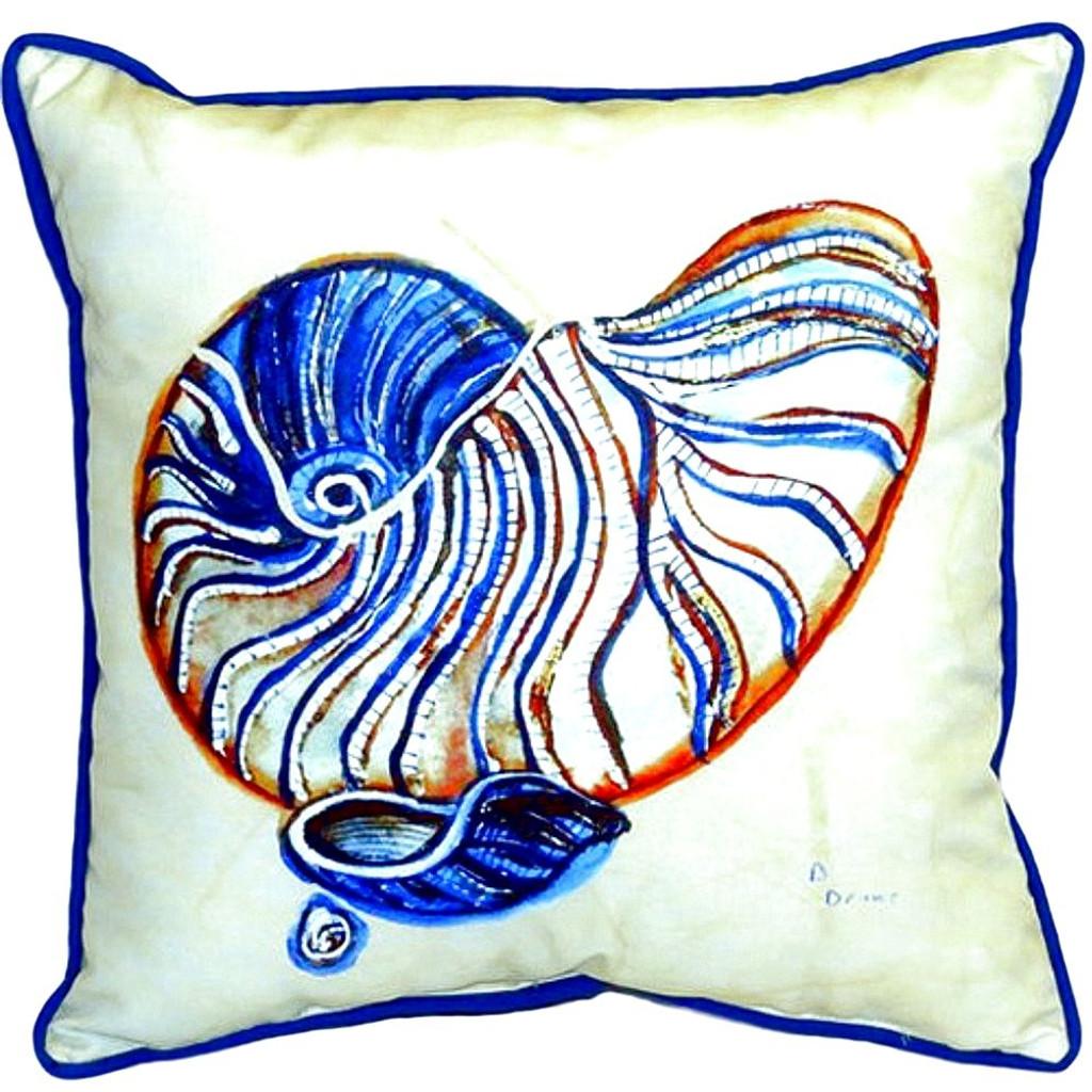 Blue Nautilus Shell Indoor-Outdoor Pillow