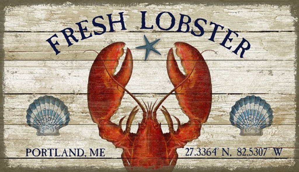 Fresh Lobster Coastal Sign - Custom