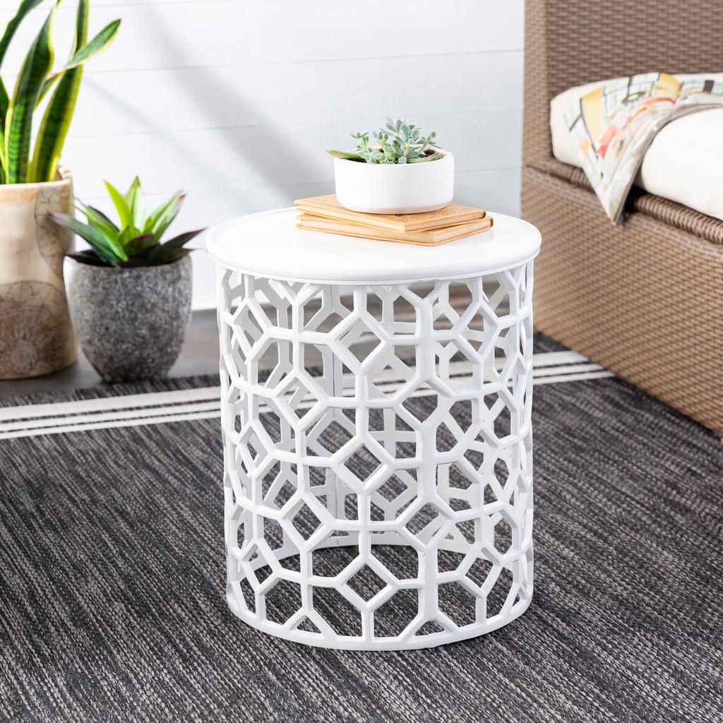 Hale Aluminum Lattice Accent Table in White room view