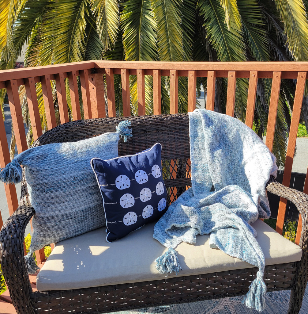 Navy Blue Embroidered Sand Dollar Pillow