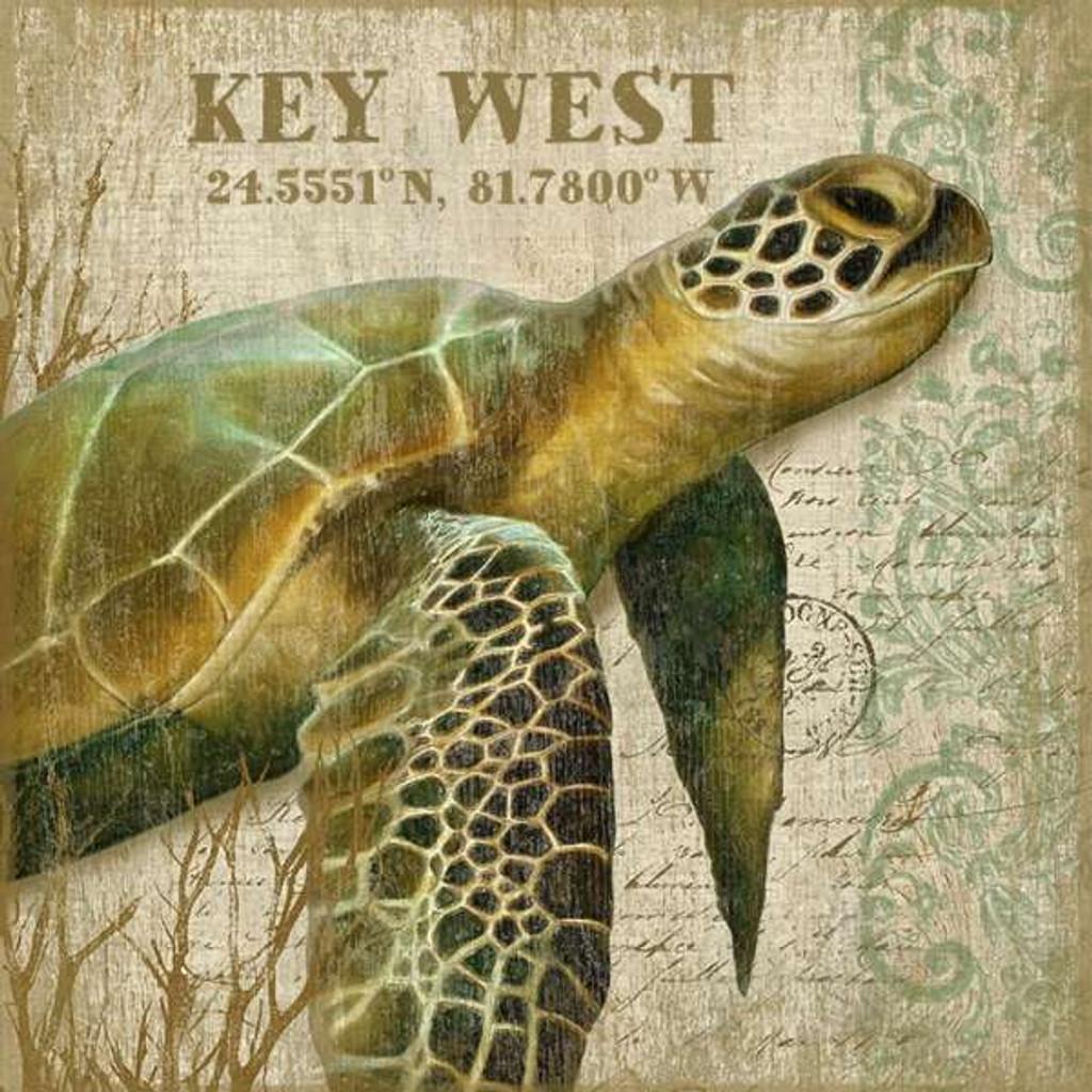 Custom Tropical Sea Turtle I Wall Art