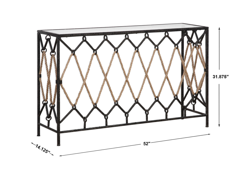 Darya Nautical Console Table with Rope measurements