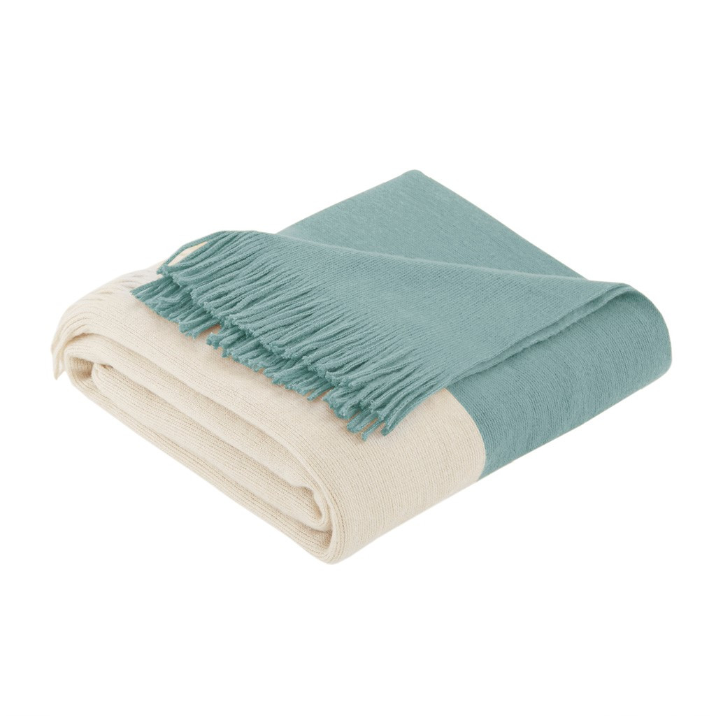 Aqua Color Block Fringed Throw