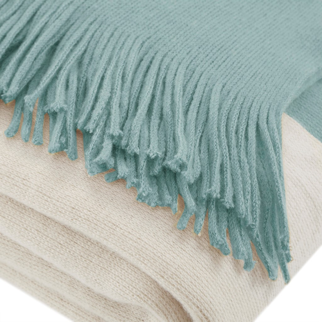 Aqua Color Block Fringed Throw fringe detail