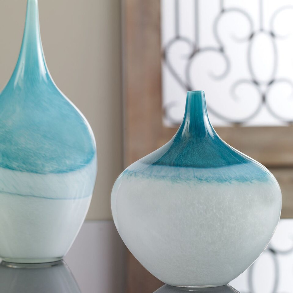 Carla Teal White Vases Set of 2