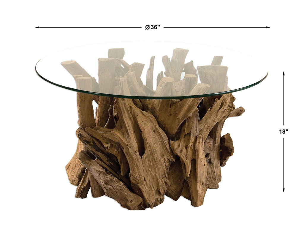 Driftwood Glass Top Cocktail Table measurements