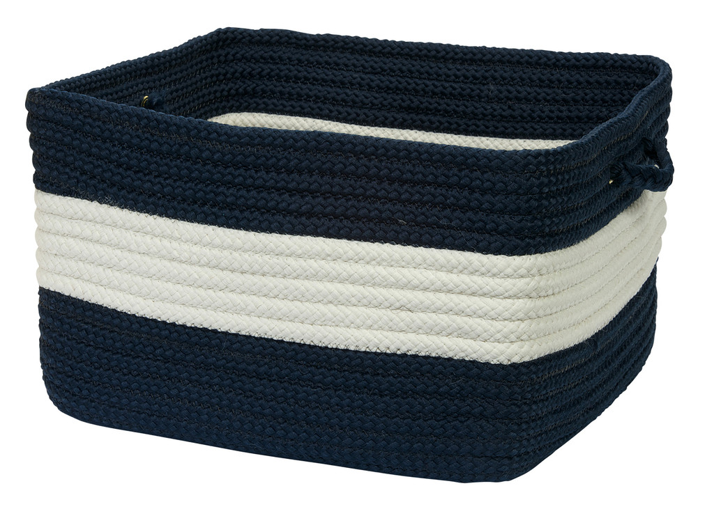 Rope Walk Navy Blue Striped Basket