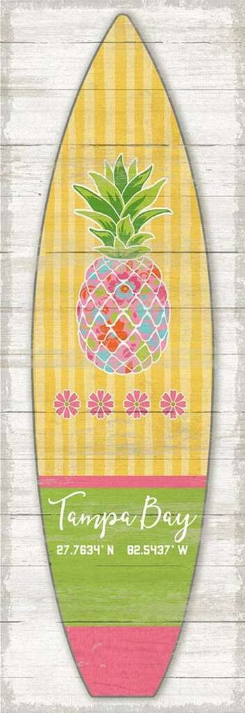 Yellow Striped Pineapple Surfboard Custom Art