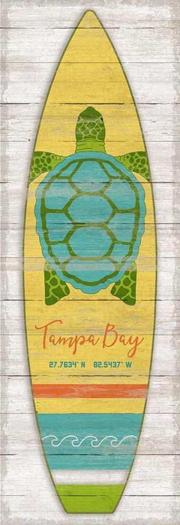 Bright Sea Turtle Surfboard Custom Latitude-Longitude Art