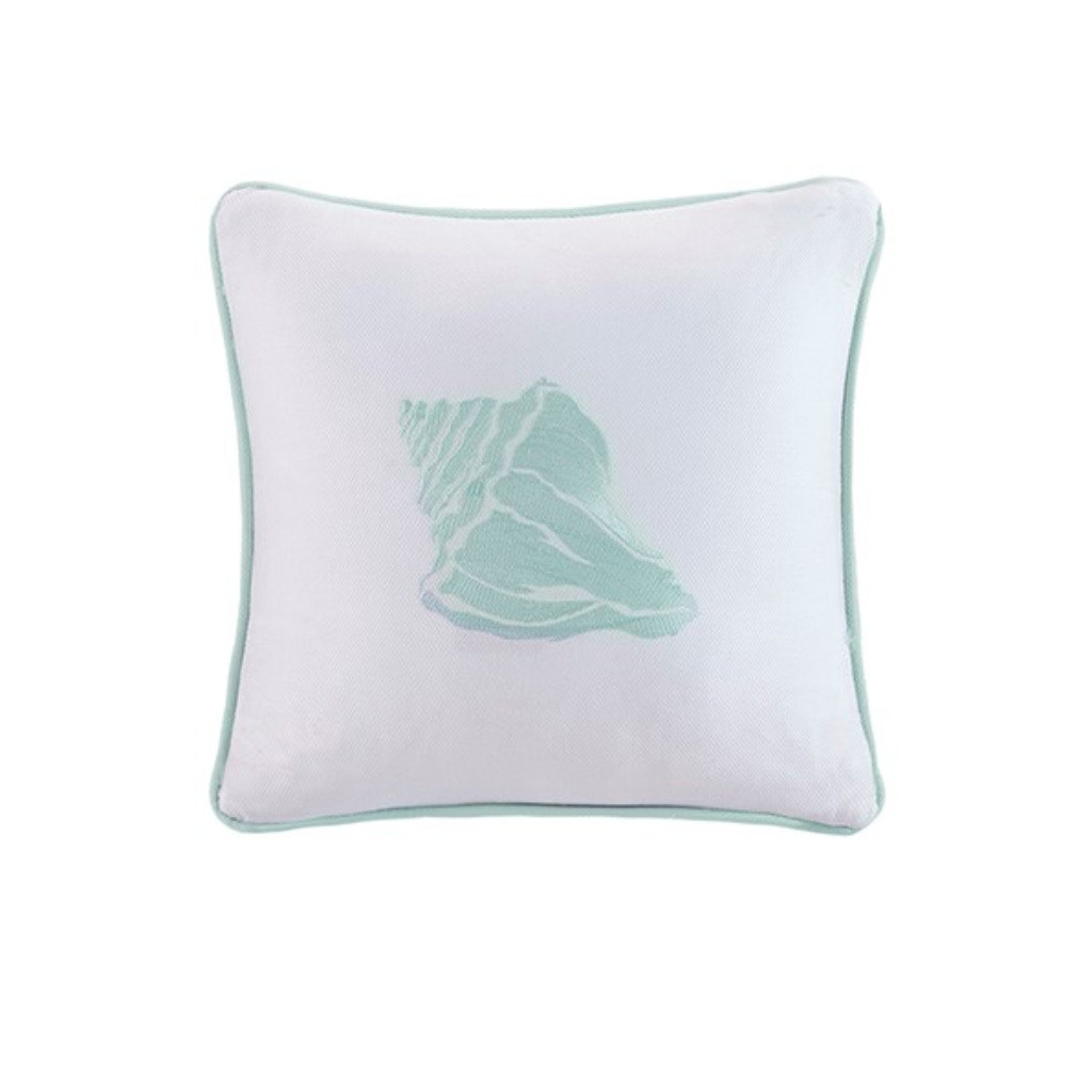 Aqua Blue Coastline Embroidered Shell Pillow