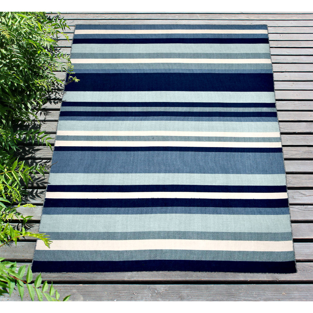 Tribeca Water Blue Striped Woven Indoor-Outdoor Rug outdoor deck view