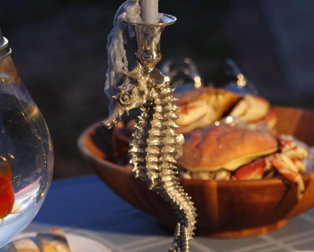 Pewter Seahorse Candlestick