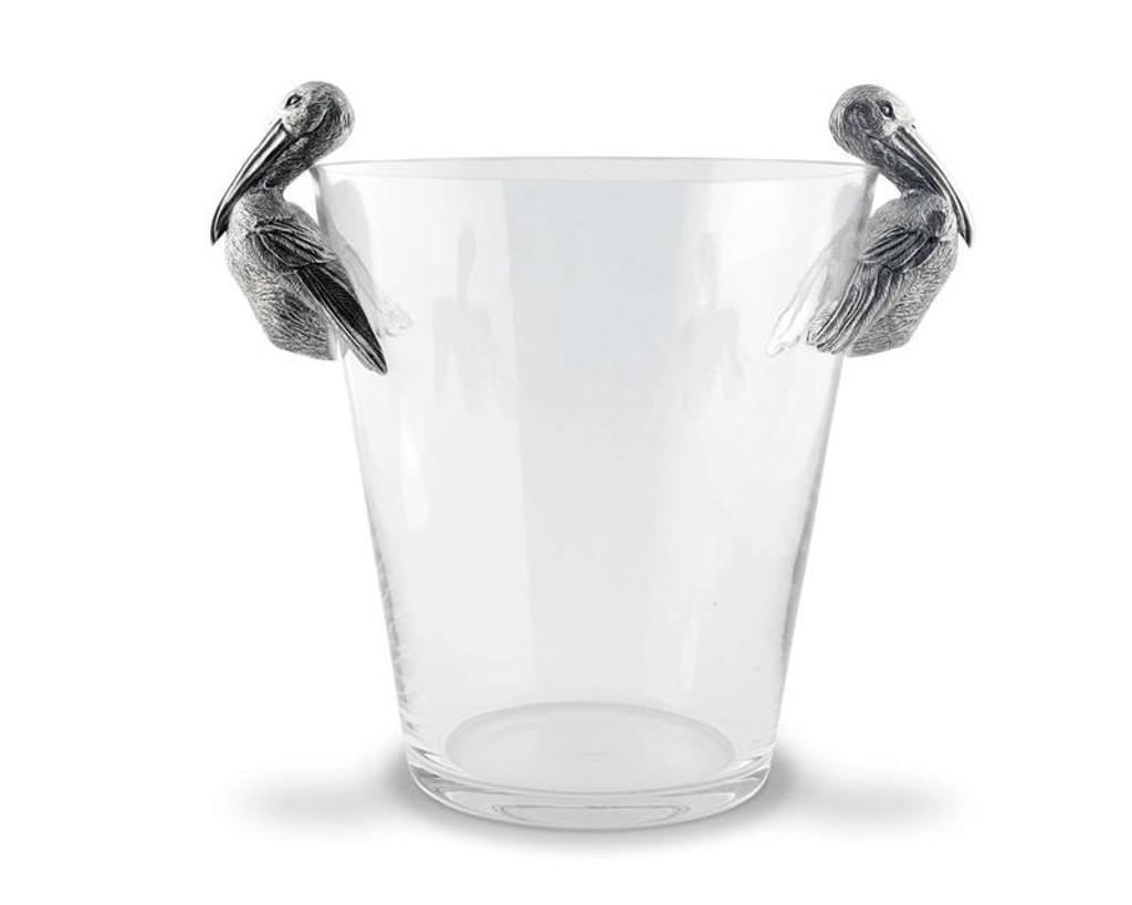Pelican Pewter Handle Glass Ice Bucket