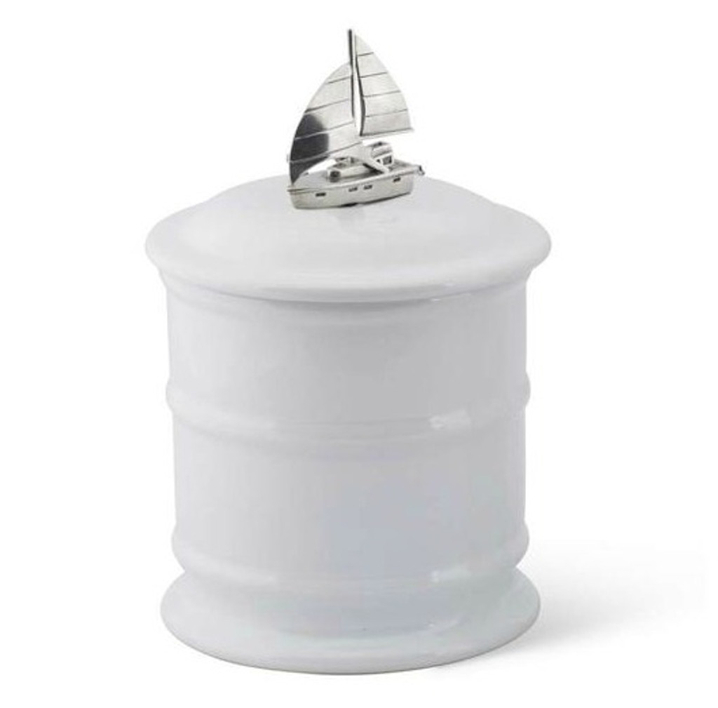 Small Sailboat Stoneware Canister