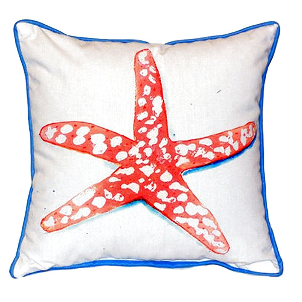 Coral Starfish Beach Cottage Pillow