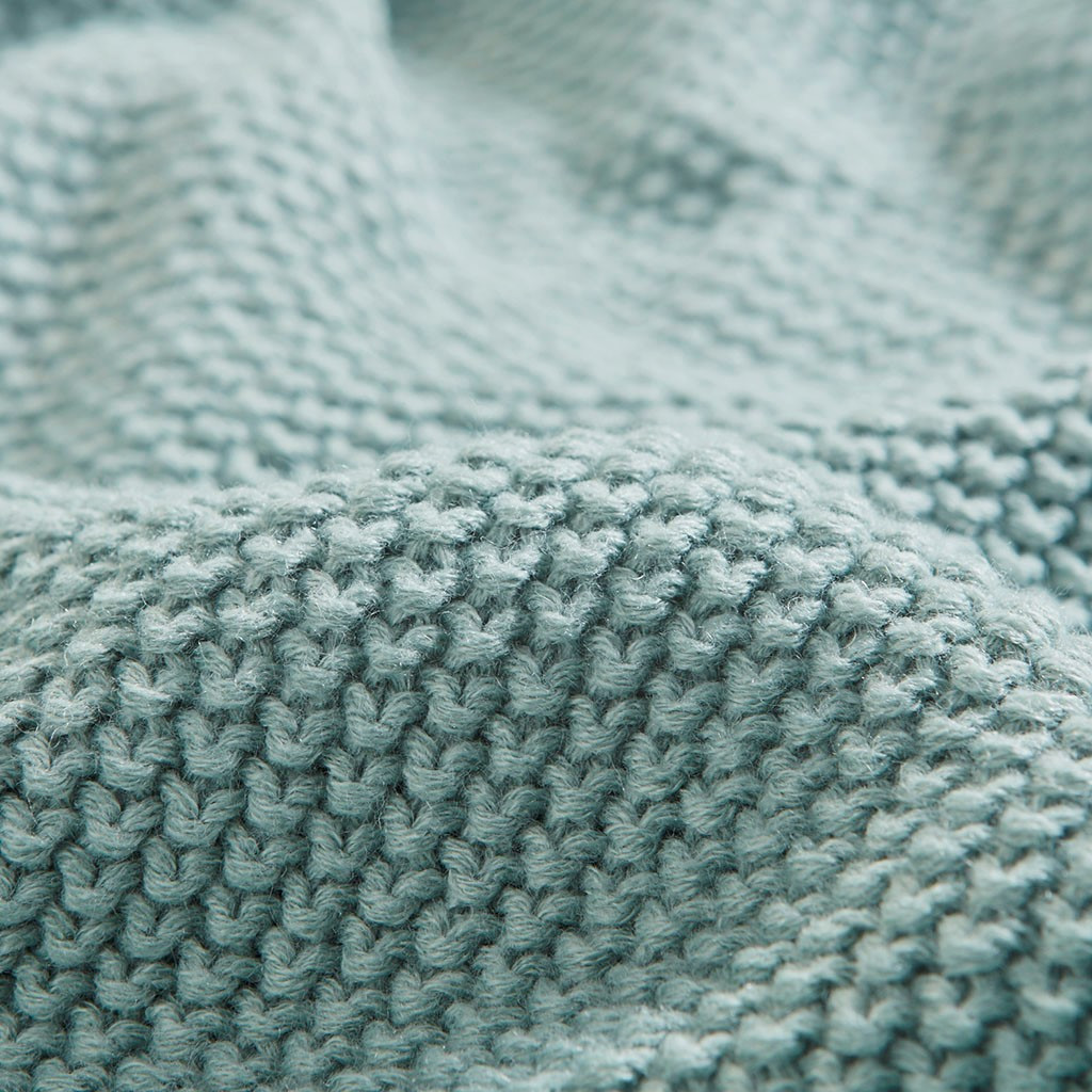 Aqua Blue Bree Knit Throw close up knit