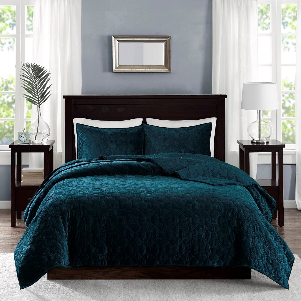 Harper Teal Velvet Coverlet Set-Queen