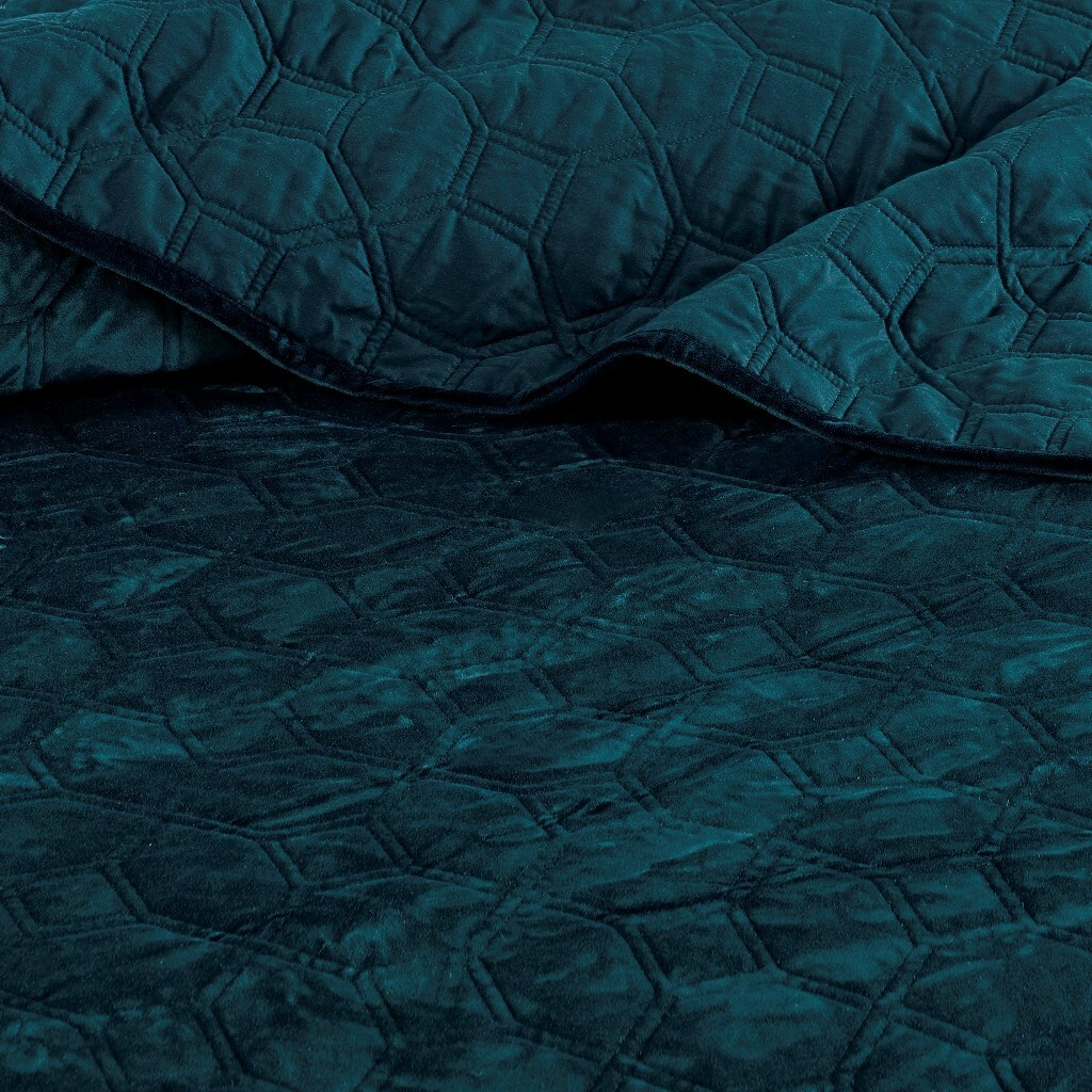Harper Teal Velvet Coverlet Set-King close up