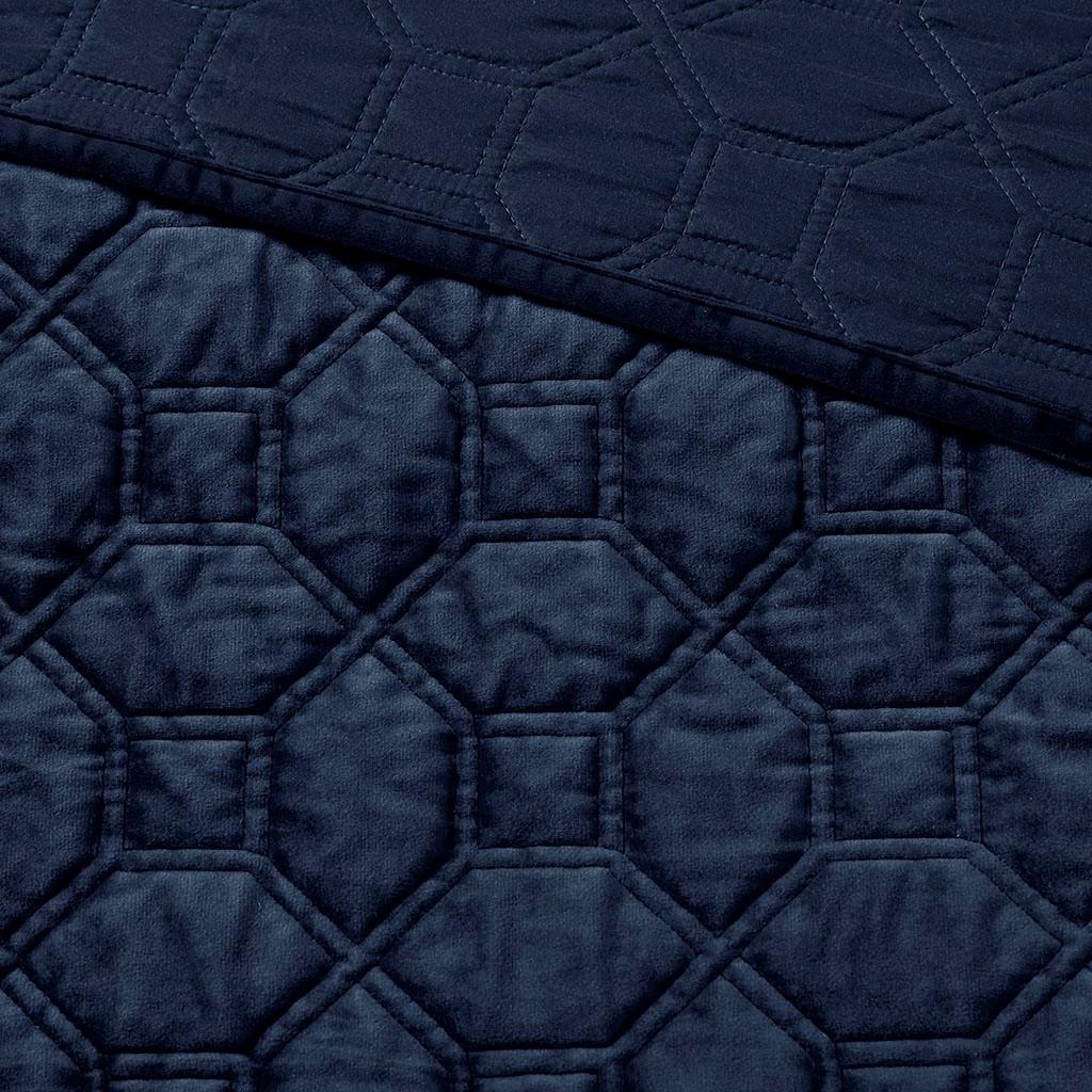 Harper Navy Velvet Coverlet Set - coverlet close up
