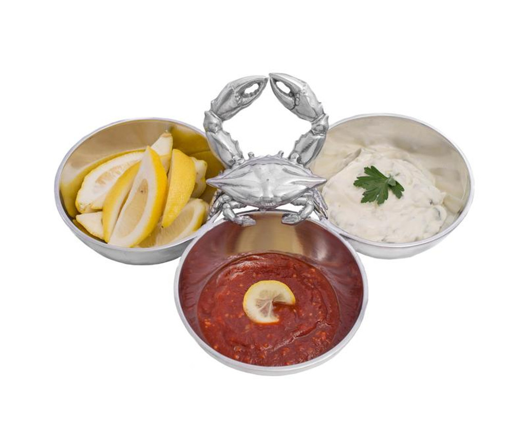 Polished Crab 3 Condiments Serving Bowl beauty image