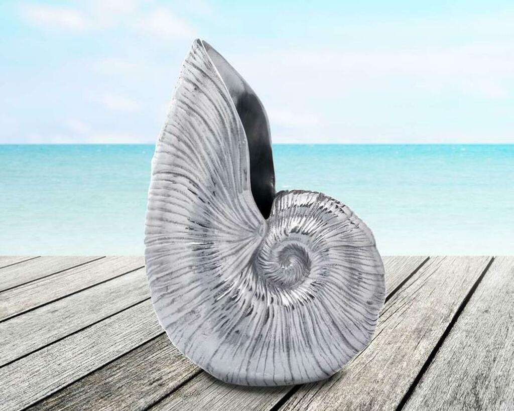 Polished Pewter Nautilus Shell Pitcher