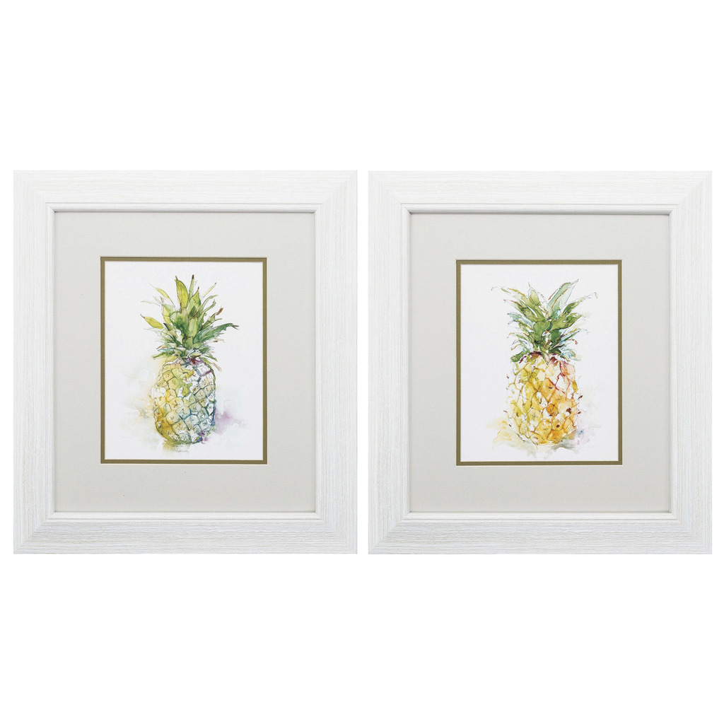 Delicious Ripe Pineapple Frame Prints - Set of 2