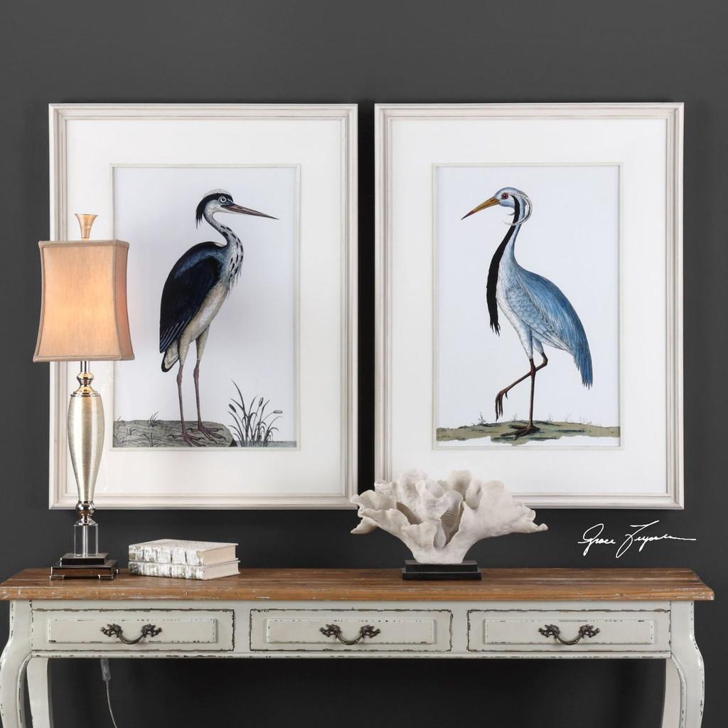 Shore Bird Art Framed in White Art