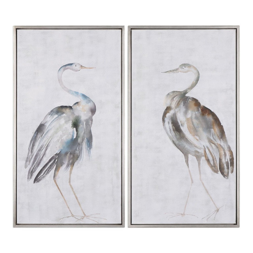 Summer Shore Birds Framed Art - Set of 2