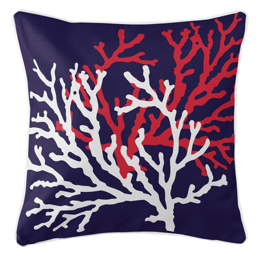 Navy and Red Coral Duo Beach Cottage Pillow