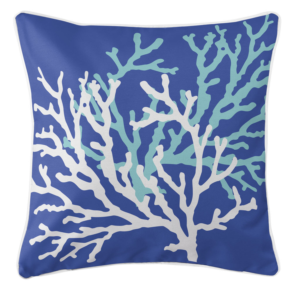 Royal Blue Coral Duo Beach Cottage Pillow