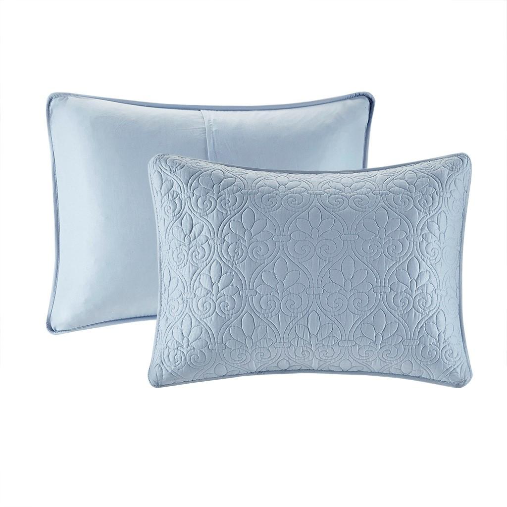 Hudson Bay Blue Quilted King Size Coverlet Set shams
