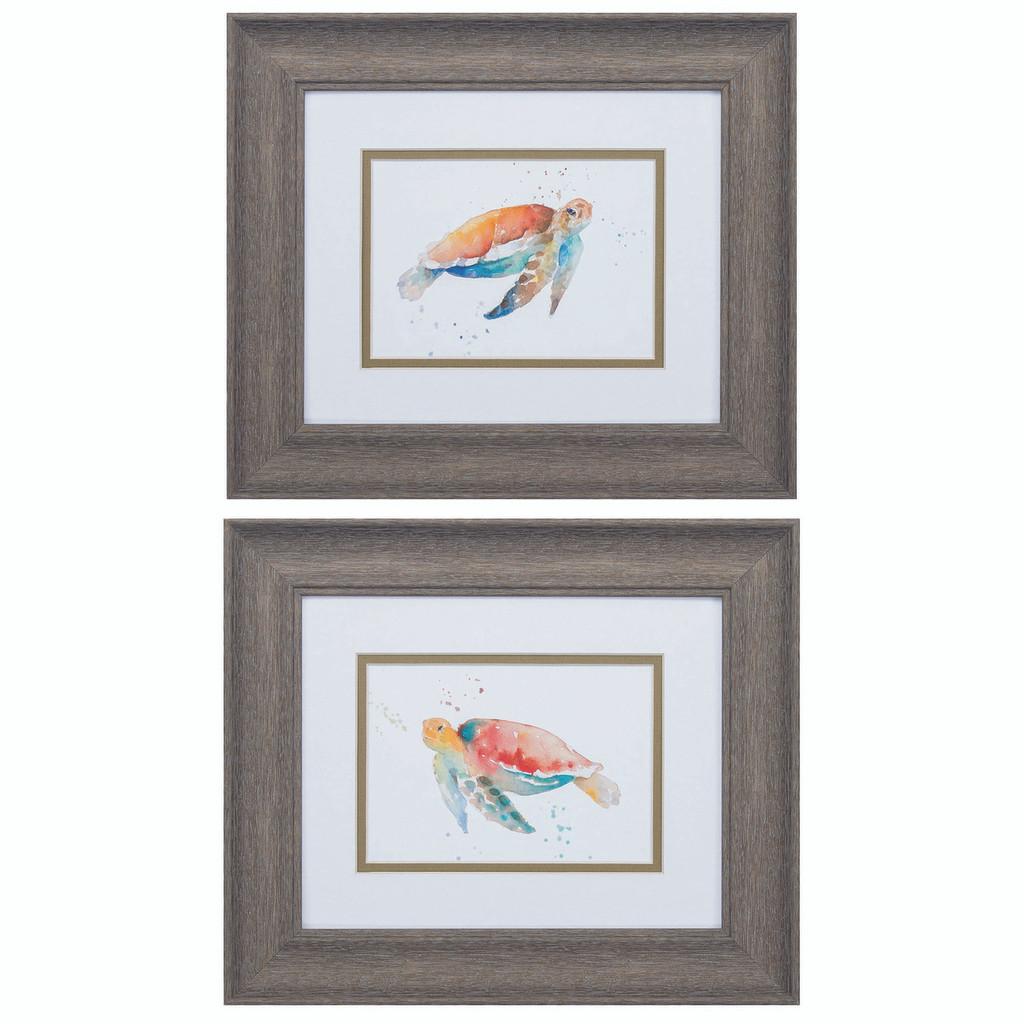 Watercolor Sea Turtle Framed Art - Set of 2