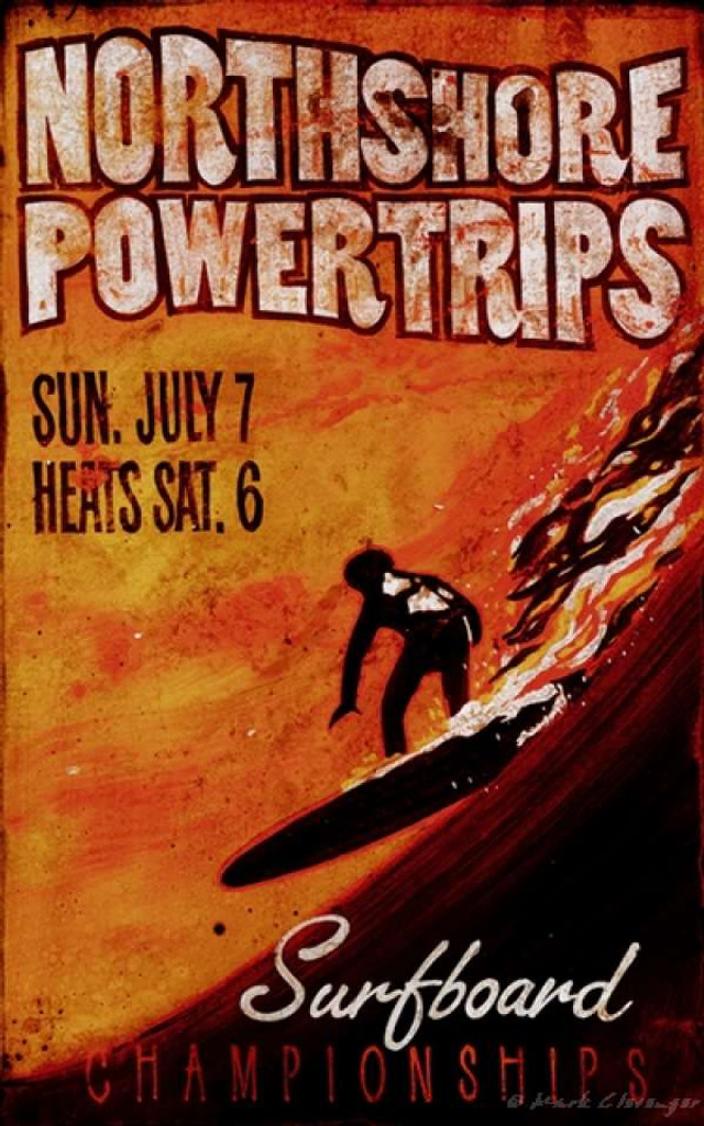 Surfing Powertrips - Custom Surf Sign