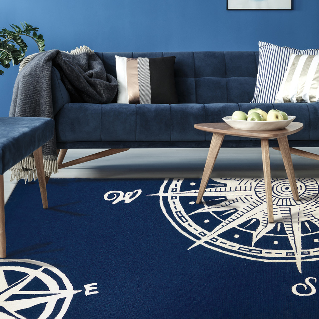 Sailor's Compass Indoor Outdoor Area Rug room view