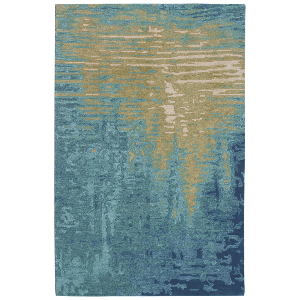 Blue Water Reflection Hand-Tufted Wool Rug
