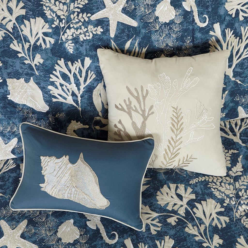 Neptune 7-Piece King Size Comforter Set dec pillows close up