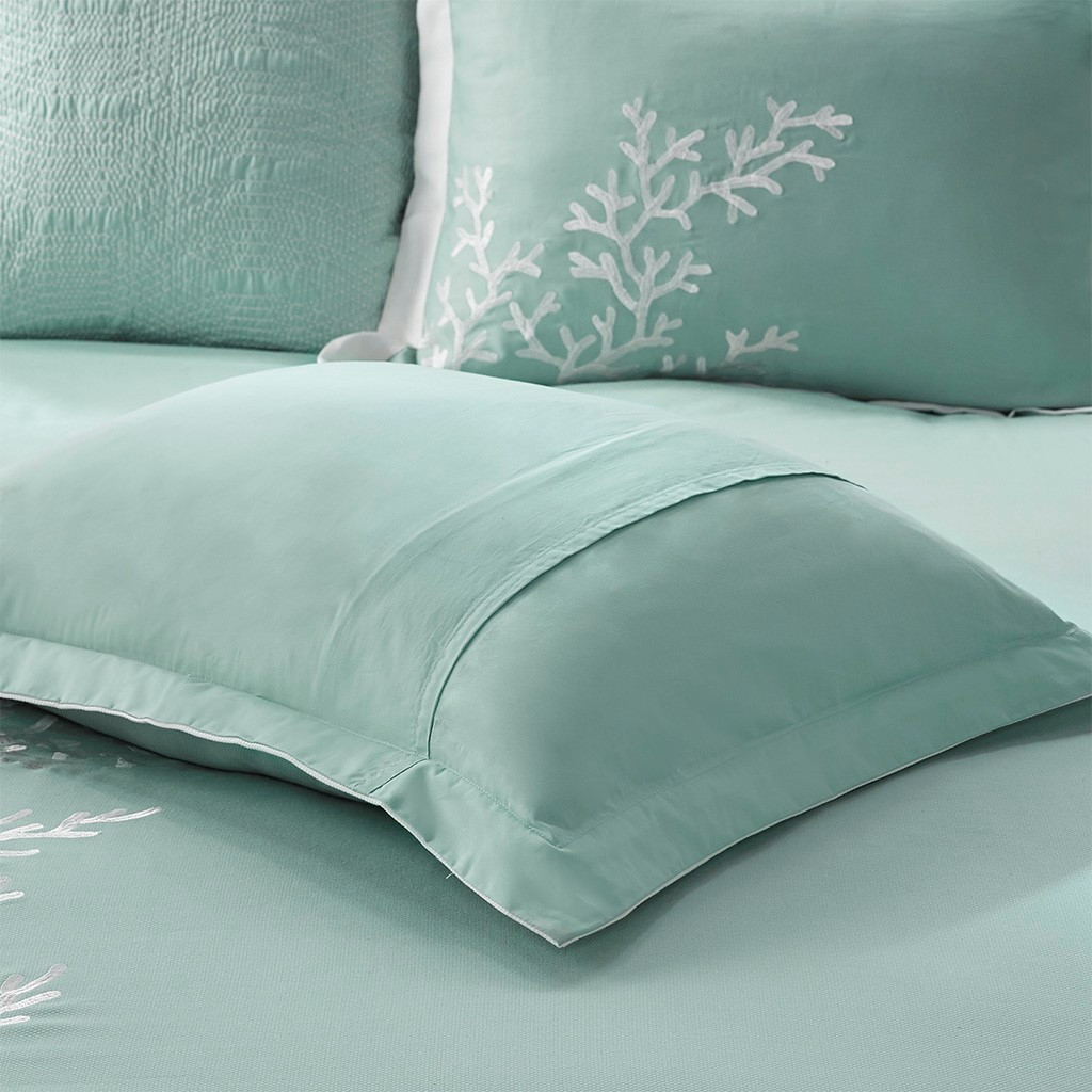 Aqua Blue Coastline Comforter Collection - Queen Size close up 1