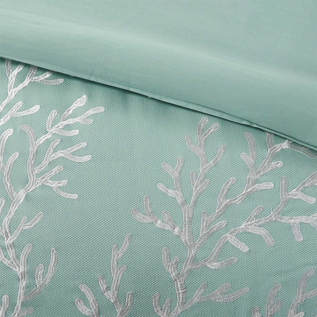 Aqua Blue Coastline Comforter Collection - Queen Size close up comforter