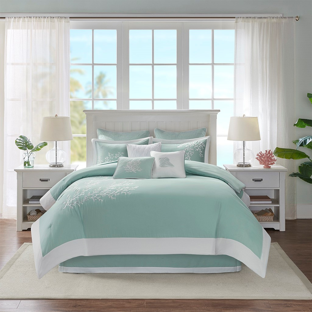 Aqua Blue Coastline Comforter Collection room view 2