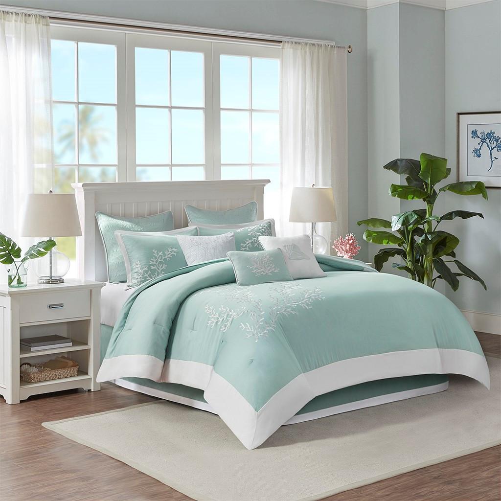 Aqua Blue Coastline Comforter Collection room view 1