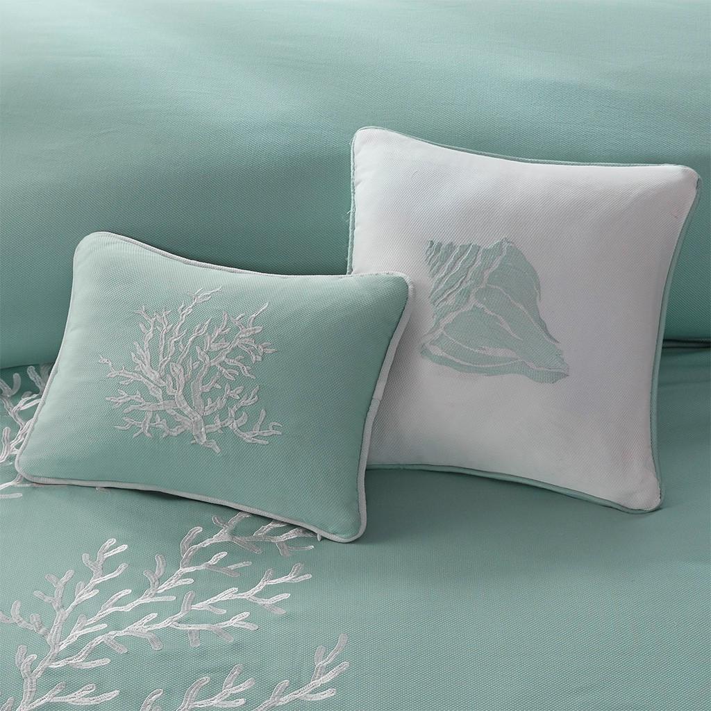 Aqua Blue Coastline Comforter Collection deco pillow 1