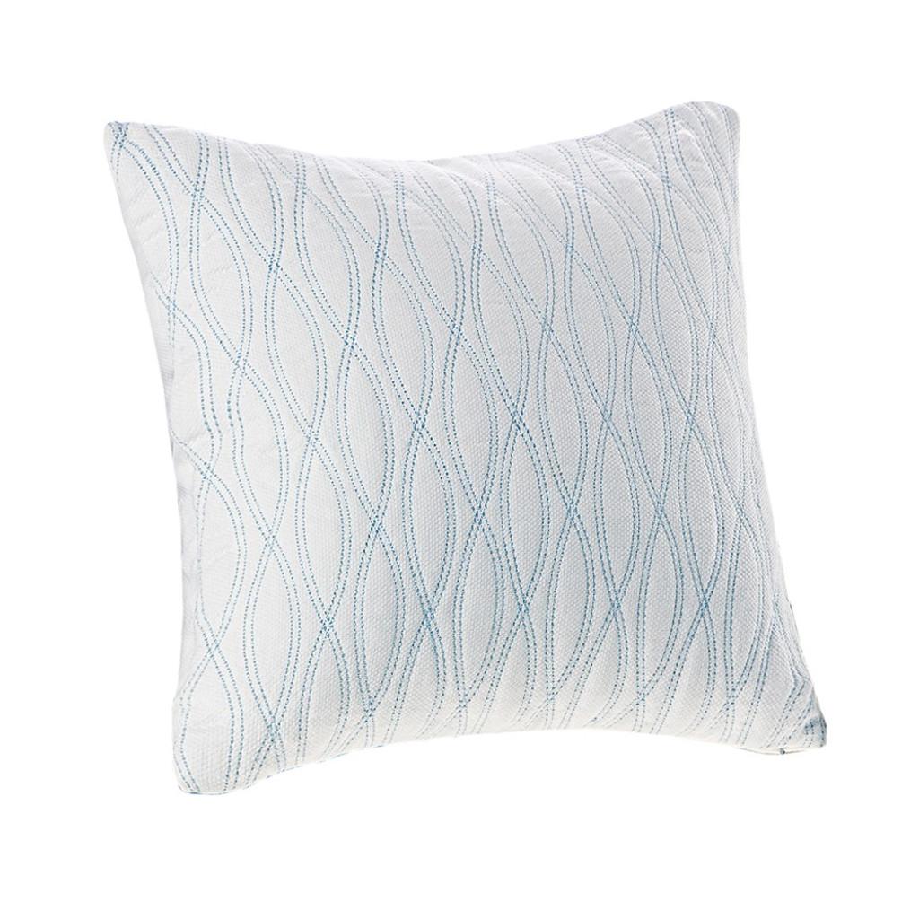 Aqua Blue Coastline Embroidered Square Pillow