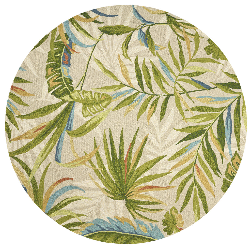 Sand and Palms Playa Tropical Indoor-Outdoor Rug round image