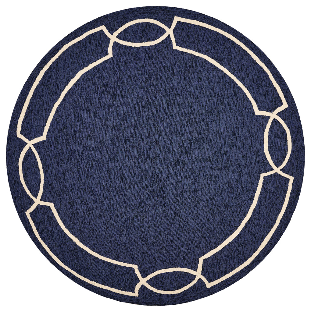 Hamptons Ocean Blue Madison Rug round
